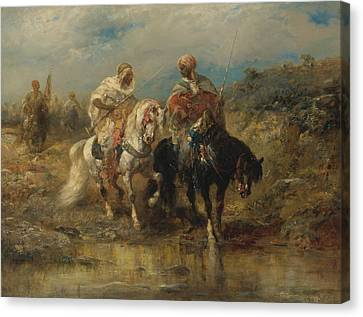 Horsemen At A Watering Hole Canvas Print by Celestial Images