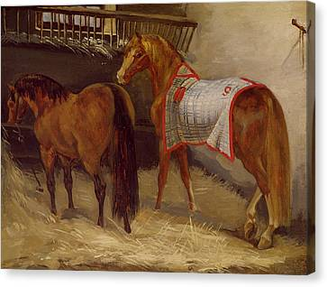 Horses In The Stables  Canvas Print by Theodore Gericault