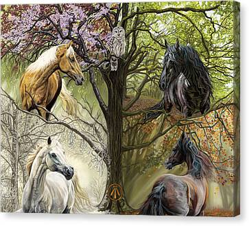 Horses Of The Four Seasons Canvas Print by Kim McElroy