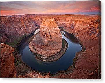 Colorado River Canvas Print featuring the photograph Horseshoe Dawn by Mike  Dawson