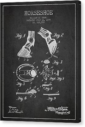Horseshoe Patent From 1899 - Charcoal Canvas Print by Aged Pixel