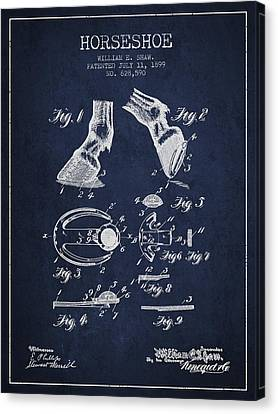 Horseshoe Patent From 1899 - Navy Blue Canvas Print by Aged Pixel