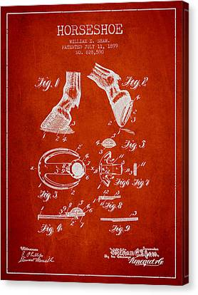 Horseshoe Patent From 1899 - Red Canvas Print by Aged Pixel