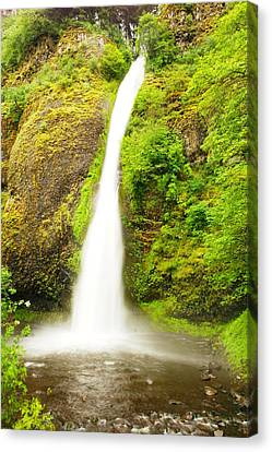 Horsetail Falls In The Spring Canvas Print by Jeff Swan