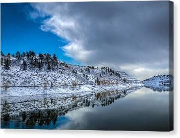 Horsetooth Reservoir Reflection Canvas Print by Harry Strharsky