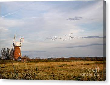 Horsey Windmill In Autumn Canvas Print by Louise Heusinkveld
