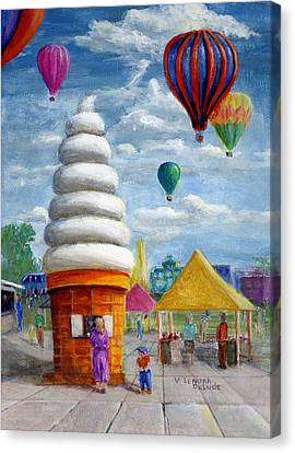 Hot Air Balloon Carnival And Giant Ice Cream Cone Canvas Print by Lenora  De Lude