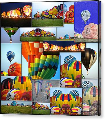 Hot Air Balloon Collage Square Canvas Print by Thomas Woolworth