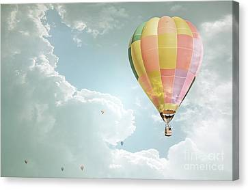 Hot Air Balloon Enchanted Clouds Canvas Print by Andrea Hazel Ihlefeld