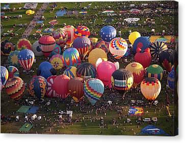 Hot Air Balloon Mass Ascent Canvas Print by Peter Menzel