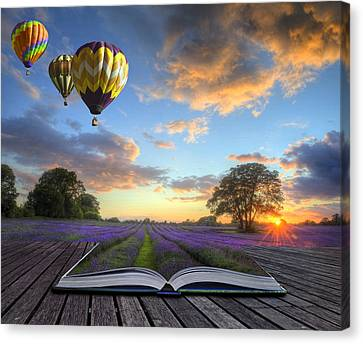 Hot Air Balloons Lavender Landscape Magic Book Pages Canvas Print by Matthew Gibson