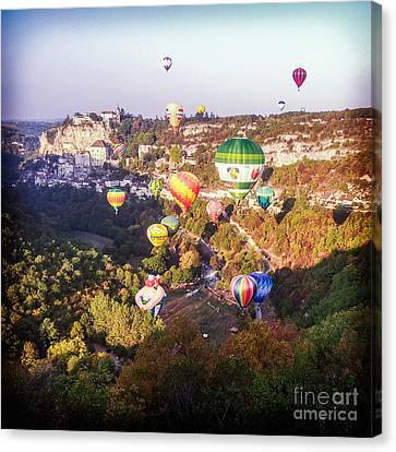 Hot Air Balloons Rocamadour Canvas Print by Colin and Linda McKie
