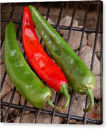 Hot And Spicy - Chiles On The Grill Canvas Print by Steven Milner