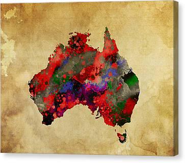 Hot Australia Map Canvas Print by Daniel Hagerman