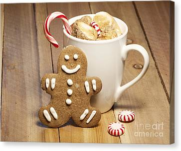 Hot Chocolate Toasted Marshmallows And A Gingerbread Cookie Canvas Print by Juli Scalzi