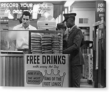 Hot Dog Stand At Playland Canvas Print by Underwood Archives