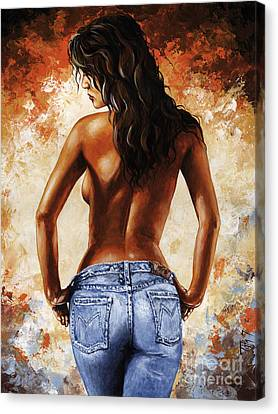 Hot Jeans 02 Blue Canvas Print by Emerico Imre Toth