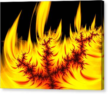Hot Orange And Yellow Fractal Fire Canvas Print by Matthias Hauser