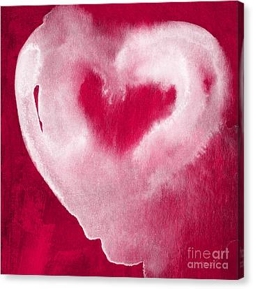 Hot Pink Heart Canvas Print by Linda Woods