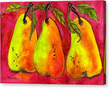Hot Pink Three Pears Canvas Print by Blenda Studio