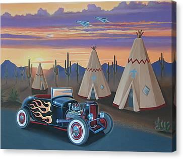 Hot Rod At The Wigwams Canvas Print by Stuart Swartz