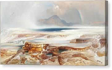Hot Springs Of Yellowstone Canvas Print by Thomas Moran