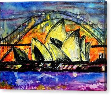 Hot Sydney Night Canvas Print by Lyndsey Hatchwell