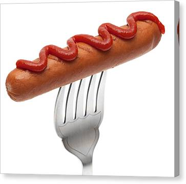 Hotdog Sausage On Fork Canvas Print by Amanda Elwell
