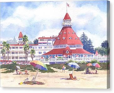 Hotel Del Coronado Beach Canvas Print by Mary Helmreich