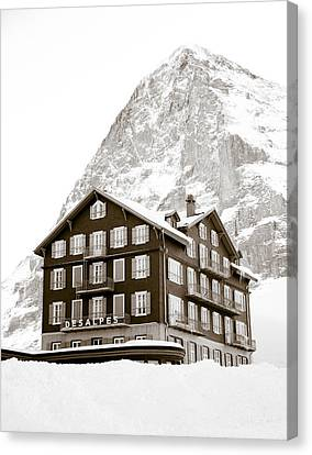 Hotel Des Alpes And Eiger North Face Canvas Print by Frank Tschakert