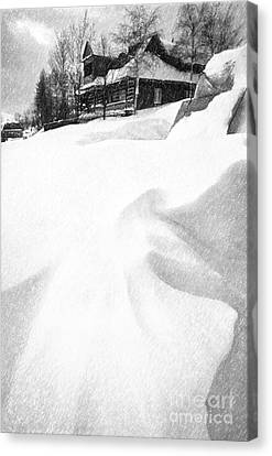 House In Snow Canvas Print by Rod McLean