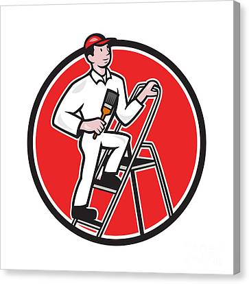 House Painter Paintbrush On Ladder Cartoon Canvas Print by Aloysius Patrimonio