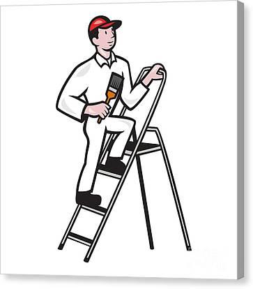 House Painter Standing On Ladder Cartoon Canvas Print by Aloysius Patrimonio