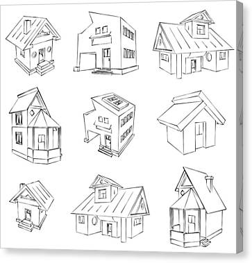 House Sketch Set Canvas Print by Ioan Panaite