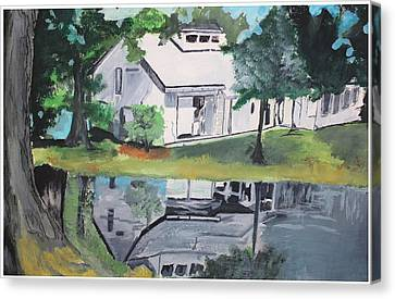 House With Lush Green Surroundings Canvas Print by Pallavi Sharma