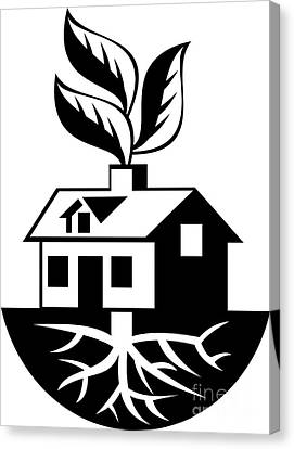 House With Roots And Leaves Sprout  Canvas Print by Aloysius Patrimonio