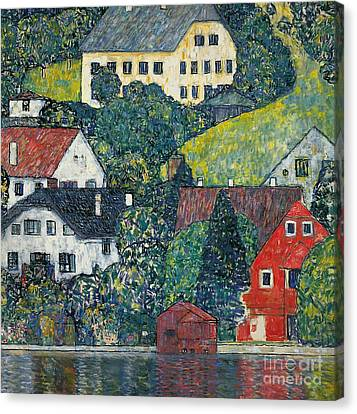 Houses At Unterach On The Attersee Canvas Print by Gustav Klimt
