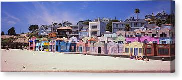 Houses On The Beach, Capitola, Santa Canvas Print by Panoramic Images