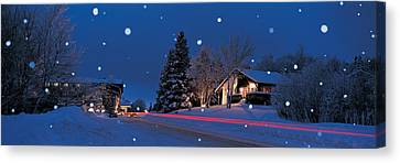 Houses Snowfall Nh Usa Canvas Print by Panoramic Images