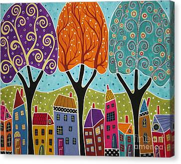 Houses Trees Folk Art Abstract  Canvas Print by Karla Gerard
