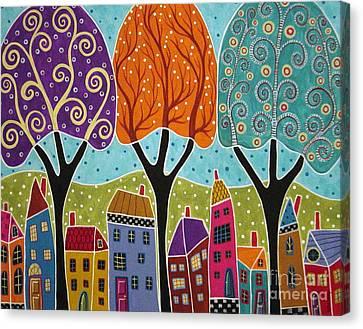 Houses Trees Folk Art Abstract  Canvas Print by Karla Gerard