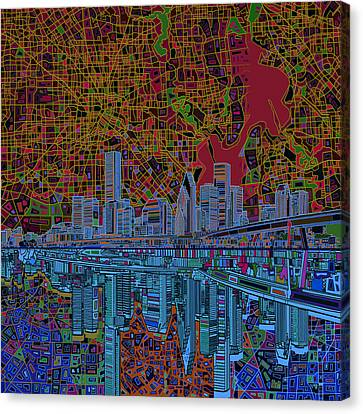 Houston Skyline Abstract 3 Canvas Print by Bekim Art
