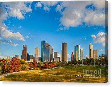 Houston Skyline Fall Day Canvas Print by Tod and Cynthia Grubbs