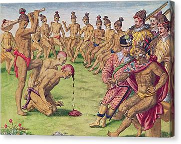 How A Sentry Was Treated For Negligence Canvas Print by Jacques Le Moyne