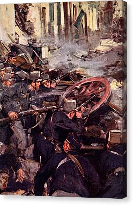 How The Brave Belgians Held Up The German Advance Canvas Print by Cyrus Cuneo