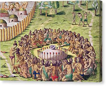 How The Chief Is Buried Canvas Print by Jacques Le Moyne