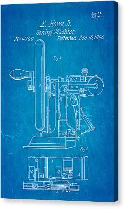 Howe Sewing Machine Patent Art 1846 Blueprint Canvas Print by Ian Monk
