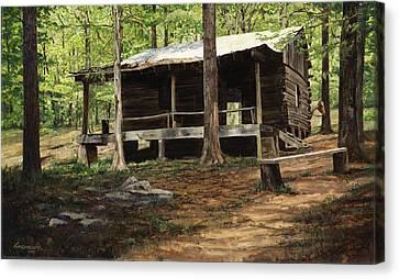 Howell Log Cabin - Hartshorn Canvas Print by Don  Langeneckert