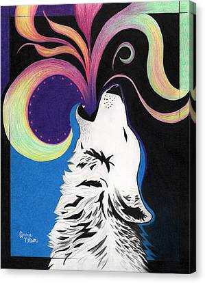 Howling Wolf Canvas Print by Annie Nelson