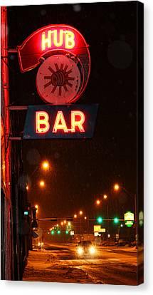 Hub Bar Snowy Night Canvas Print by Sylvia Thornton